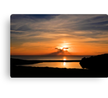 Sunset From Degibna Over Loe Bar, Cornwall Canvas Print