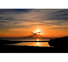 Sunset From Degibna Over Loe Bar, Cornwall Photographic Print