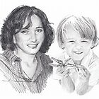 Grandmother & grandson drawing by Mike Theuer