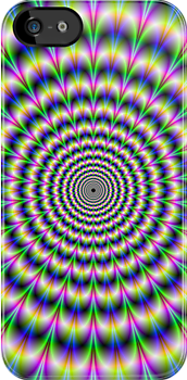 Psychedelic Pulse in Green Blue and Pink by Objowl