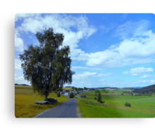 Old tree, country road and a cloudy sky | landscape photography Metal Print