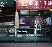 Subway and Shops, NYC by Frank Romeo