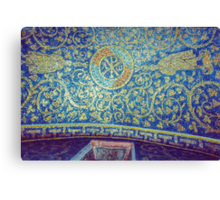Chi Rho alpha omega on roof Tomb of Gallia Placida Ravenna Italy 198404140058 Canvas Print