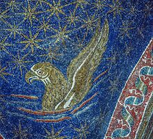 Eagle symbol of gospel writer, mosaic on roof Tomb of Gallia Placida Ravenna Italy 198404140061 by Fred Mitchell