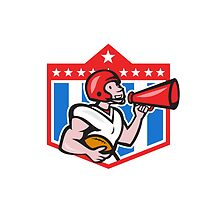 American Football Quarterback Bullhorn Cartoon by patrimonio