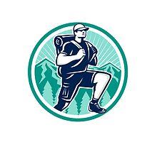 Hiker Hiking Mountain Retro by patrimonio