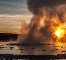 Great Fountain Geyser Sunset - Yellowstone National Park by Brian Harig