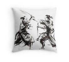 Samurai sword bushido katana martial arts budo sumi-e original ink sword painting artwork Throw Pillow