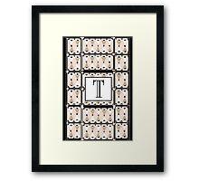 1920s Pink Champagne Gatsby Monogram letter T Framed Print