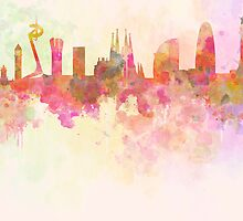 Barcelona skyline in watercolour background  by Pablo Romero