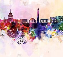 Washington DC skyline in watercolor background  by Pablo Romero
