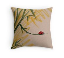 """""""Take A Chance""""  Sumi-e Ink Brush Pen Ladybug Painting Throw Pillow"""