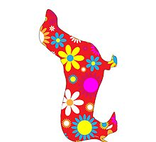 Dachshund Dog Funky Retro Floral by roughcollie5