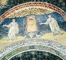 Saints with birds at fountain mosaic mid C5 Tomb of Gallia Placida Ravenna Italy 198404140067  by Fred Mitchell