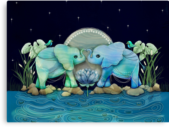 Lotus Flower Elephants Ocean Blue and Sea Green by © Karin  Taylor