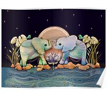 Lotus Flower Elephants of the Rainbow Poster