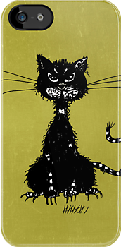 Olive Green Grunge Ragged Evil Black Cat Case by Boriana Giormova