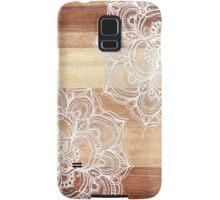 White Doodles on Blonde Wood Samsung Galaxy Case/Skin