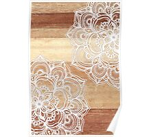 White Doodles on Blonde Wood Poster