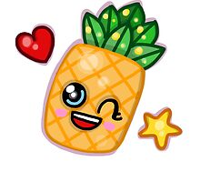 Pineapple fruit Kawaii Cute hearts by lizzielizard