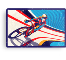 retro track cycling print poster Metal Print