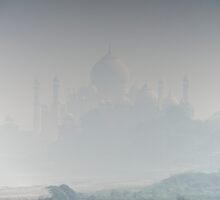 Taj Mahal from Agra Fort in mist by Nick Dale