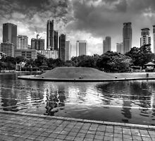 Kula Lumpur skyline - Black and white by Guy  Berresford