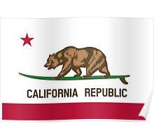 Surfing California Bear Poster