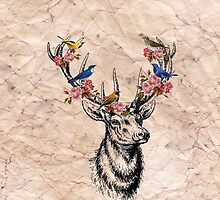 Deer with Birds and Flowers by Sarah Champ