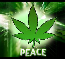 Cannabis Leaf - Peace by iArt Designs