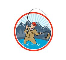 Fly Fisherman Catching Trout Fish Cartoon by patrimonio