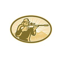 Hunter Aiming Rifle Oval Retro by patrimonio
