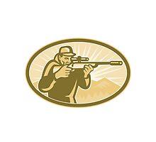 Hunter Aiming Rifle Oval Retro by patrimonio