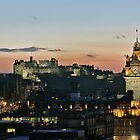 Balmoral Clocktower and Edinburgh Castle at Dusk by Miles Gray