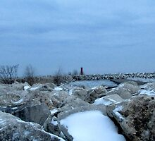 Snow on Lake Michigan in Sheboygan, WI by Karen Abraham