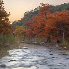 Texas Hill Country Images - The Pedernales River in Autumn Moonrise by RobGreebonPhoto