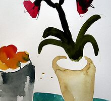 Amaryllis beside fruit bowl, watercolour by Edith Dora Rey