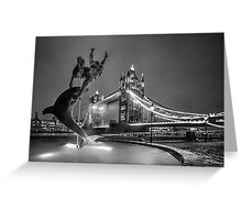 Tower Bridge and Dolphin - mono Greeting Card