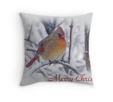 Cardinal Christmas Card Throw Pillow