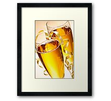 Champagne glasses at New Years Framed Print