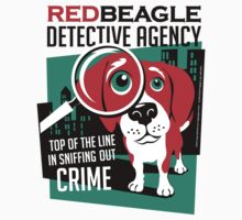 Red Beagle Detective Agency Retro T-shirt- original art by DKMurphy
