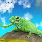 Happy Green Lizard Sitting on a Rock in a Blue Sunny Day by ibadishi