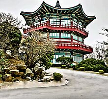 Old Korean Architecture Linen / Canvas Digital Painting by nhk999