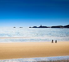 Newborough Beach - Cyclists on a Summer Day by Joe Wainwright