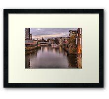 Sunset over River Ouse in York. Framed Print