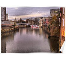 Sunset over River Ouse in York. Poster