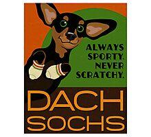 Happy Dachshund in Socks Retro poster design- original art Photographic Print