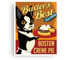 Boston Terrier Dog Baker retro poster design- original art  Canvas Print