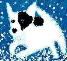 Jack Russell jumping through snow by MooieVogel