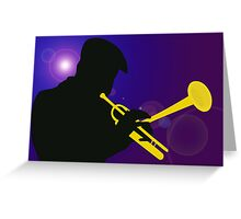 Silhouette of a Trumpet Player on a Blue / Purple Background Greeting Card